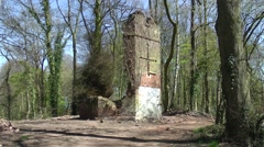 Derelict tower woodland cross trees blue sky ivy Stock Footage