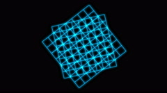 4k Rotating blue square grid,tech data geometry background. Stock Footage