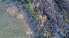 Top view of Oak Creek near Cathedral Rock in Sedona, Arizona Stock Footage