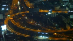 Nighttime Traffic Lights on a Highway in Bangkok Stock Footage