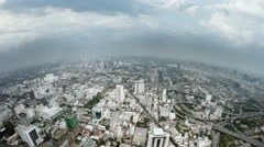 Stock Video Footage of Panning across the Sprawling, Downtown Cityscape of Bangkok, Thailand