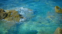 Tropical ocean coast. Rocks and waves. Thailand, Phuket - stock footage