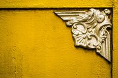 Silver Emblem on Gold - stock photo
