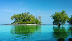 Pretty, Little, Tropical Island near Phuket in Southern Thailand Stock Footage