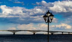 Lampost and Bridge - stock photo