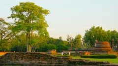 Ancient Buddhist Temple Ruin in Sukhothai Thailand Stock Footage