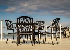 Black Iron Wrought Seats Stock Photos