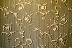 Floral Swirls on Stripes - stock photo