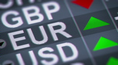 Indicator of change of an exchange rate. Euro, UP - stock footage