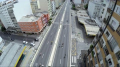 Aerial view of Costa e Silva Elevated Road (Minhocao) in Sao Paulo, Brazil Stock Footage
