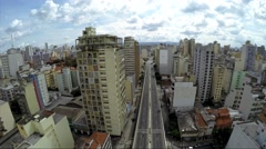 Aerial view of Costa e Silva Elevated Road (Minhocao) in Sao Paulo, Brazil Stock Footage