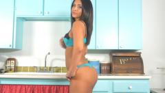 Body and butt of sexy lingerie latina woman slow motion Stock Footage