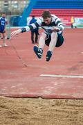 Men compete in long jump, Orenburg, Russia - stock photo