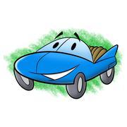 cartoon convertible - stock illustration
