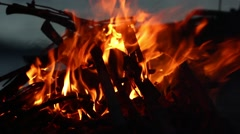 Bonfire on the Beach at Dusk 2 - stock footage