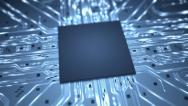Stock Video Footage of Big data chip background intro HD