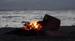 Bonfire on the Beach - stock footage