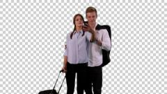 K14A8769 - Couple, hand in hand, trolly, takes selfie.. Stock Footage