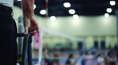 Referee at Female Indoor Volleyball Game Stock Footage