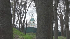 Park, ancient cathedral Stock Footage