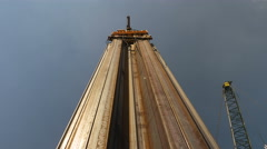 Pile driver in action, low angle shot Stock Footage
