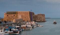 Heraklion Castle  and harbor in Crete, Greece - stock photo