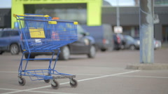 Shopping cart on parking. Stock Footage