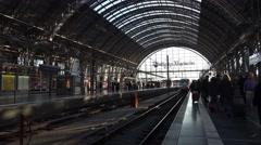 4k Arriving ICE train Frankfurt Hbf station inside Stock Footage