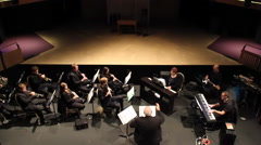 Orchestra rehearse music at theatre Stock Footage