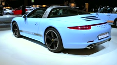 Porsche 911 Targa 4S sports car rear view Stock Footage