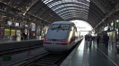4k ICE train departure Frankfurt Hbf station inside Stock Footage
