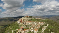 Aerial view of the old town of Motovun, Croatia Stock Footage