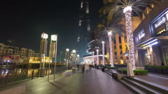 Area near the Dubai Fountain at night, UAE timelapse hyperlapse Stock Footage