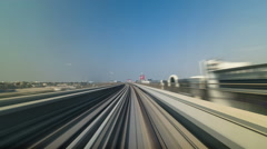Dubai Metro. A view of the city from the subway car, Dubai, UAE. Timelapse Stock Footage