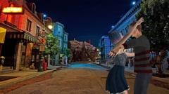 A Couple Kissing on Romantic Street Corner Stock Footage