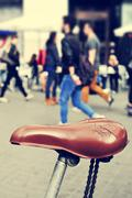 worn-out bicycle in Barcelona, Spain, with a filtered effect - stock photo