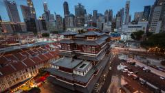 Day to night timelapse of Buddha Tooth Relic Temple in Singapore - stock footage