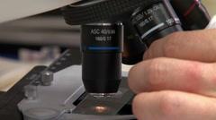 Microscope adjustment Stock Footage