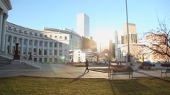 Denver city and county building walking up - stock footage