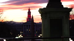 Statue sunset tilt Denver - stock footage