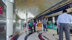 Dubai Metro Terminal, United Arab Emirates. Timelapse Stock Footage