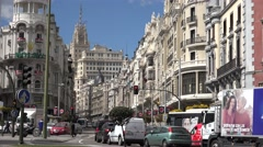 ULTRA HD 4K Famous Gran Via Great Way traffic street Madrid landmark emblem shop Stock Footage