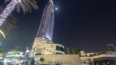 Hotel witin Moon in the downtown Dubai area overlooks the famous dancing Stock Footage
