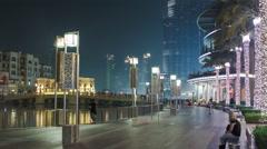 Area near the Dubai Fountain at night, UAE timelapse Stock Footage