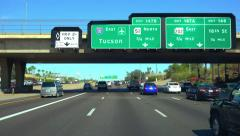 4K UHD freeway signage  I-10 east to Tucson or Phoenix airport slow motion Stock Footage