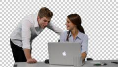 K14A8784- Young woman and collegue (boss) in front of Laptop, shaking heads Stock Footage