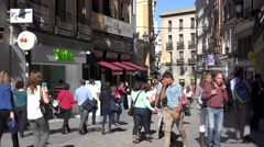 ULTRA HD 4K Crowded shopping street old town Madrid downtown tourism attraction  Stock Footage
