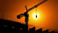 Construction Site at Dawn Stock Footage