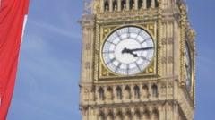 Big Ben London UK Flag Slow Motion Stock Footage