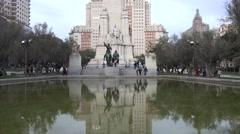 ULTRA HD 4K Cervantes Monument Plaza Espana Madrid landmark Don Quijote Sancho Stock Footage